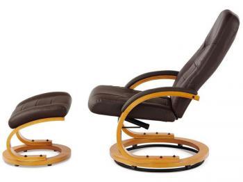 Relaxační křeslo s taburetem, koženka hnědá / olše AUTRONIC BT-649 BR