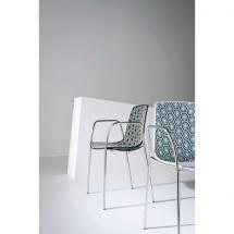 Židle AMFORA NA, plast, chromovaná konstrukce, područky
