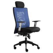 Kancelářská židle LEXA s podhlavníkem, černý sedák, síť. opěrák