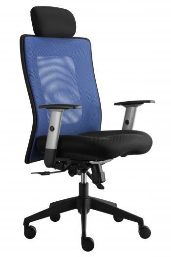 Kancelářská židle LEXA s podhlavníkem, černý sedák, síť. opěrák Alba 322