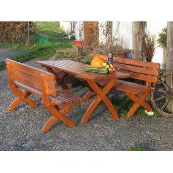 Zahradní lavice STRONG MASIV , borovice, lak, 160x51x80cm ROJAPLAST 281/5