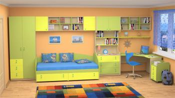 Dětský nábytek MIA - sestava č.4 žluto-zelená LENZA
