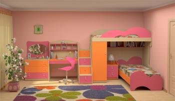 Dětský nábytek MIA - sestava č.6 oranžová-růžová LENZA
