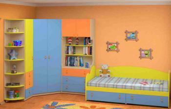 Dětský nábytek MIA - sestava č.8 modro-žlutá LENZA