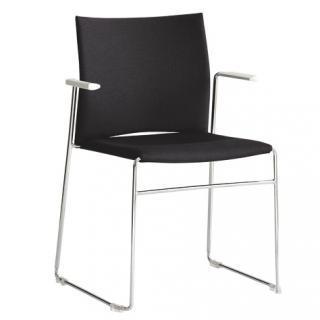 Čalouněná židle s chromovými područkami WEB (WB950.102)