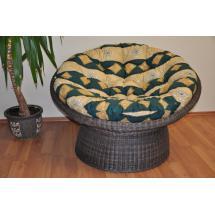 Ratanový papasan wicker hnědý polstr zelený motiv