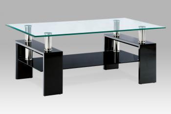 Konferenční stůl černá lesk/sklo čiré110x60x45 cm,8 mm sklo,černá polička AUTRONIC AF-1024 BK