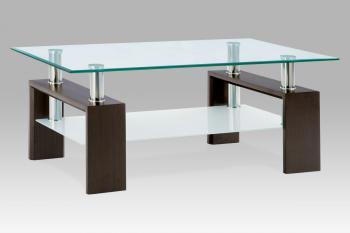 Konferenční stůl ořech/sklo čiré, mléčná polička AUTRONIC AF-1024 WAL