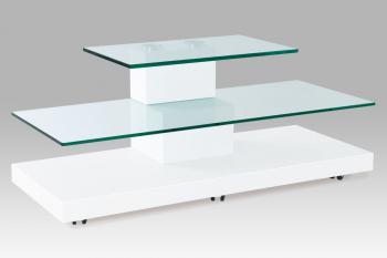 TV stolek 110x44x45 MDF bílý lak / čiré sklo AUTRONIC ATV-066 WT
