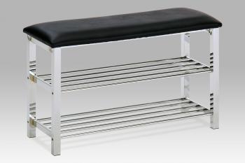 botník - taburet, chrom / koženka černá AUTRONIC GC2131