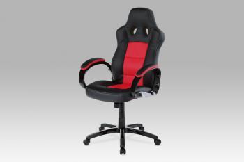 kanc. židle, PU černo-červená, plyn.píst, houpací mechanismus AUTRONIC KA-E280B RED