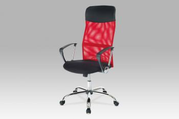kancelářská židle PU/látka MESH červená, plyn.píst, houpací mechanismus, chrom. Kříž AUTRONIC KA-E300 RED