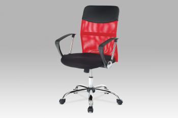 kancelářská židle PU/látka MESH červená, plyn.píst, houpací mechanismus, chrom. Kříž AUTRONIC KA-E310 RED