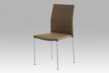 Židle alu, umělý ratan, stohovatelná AUTRONIC SOF039