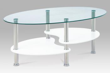 konf. stolek, sklo/police vys. lesk bílý/leštěný nerez AUTRONIC ACT-007 WT