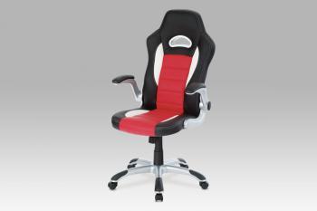 kanc. židle, PU černo-červená, plyn.píst, houpací mechanismus, nastavitelné područky AUTRONIC KA-N240 RED