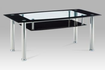 Coffee table 110x60x46, clear tempered glass w. black border, black glass bottom, stainless AUTRONIC AF-1012 BK