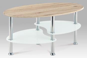 Coffee table 90x50x43, top in san remo hell/white tempered glass bottom/stainless steel AUTRONIC AHG-118 SRE