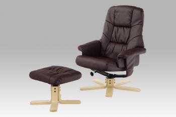 Relaxační křeslo s taburetem, koženka hnědá / natural AUTRONIC BT-660 BR
