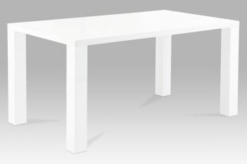 Jídelní stůl 160x90, vysoký lesk bílý AUTRONIC AT-2008 WT