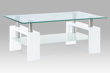 Konferenční stůl bílá lesk/sklo čiré110x60x45 cm, 8 mm sklo,mléčná polička AUTRONIC AF-1024 WT