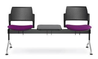 Multisedák dvoumístný DREAM+ 143/2T-N1, konstrukce černá, stolek