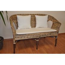 Ratanová lavice Fabion wicker mix polstry přírodní bílé