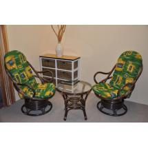 Ratanová souprava Swivel + stolek hnědá polstry zelené