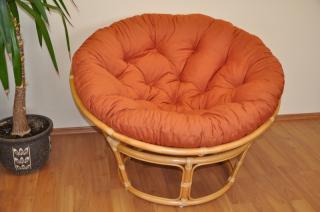 Ratanový papasan 115 cm medový - polstr pískový