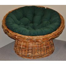 Ratanový papasan Abaka polstr zelený dralon
