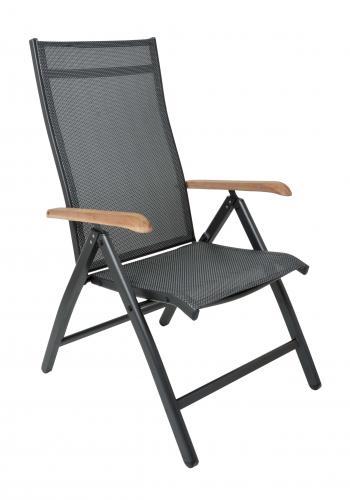 Zahradní polohovací židle CONCEPT, antracit, teak Doppler 266CZ011720