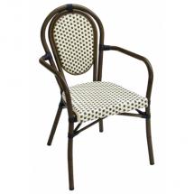 Zahradní ratanová židle LUCCA - A, hnědá, područky