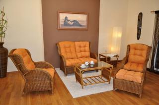 Ratanová sedací souprava Borneo brown wash, velká, polstry oranžové