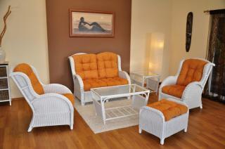 Ratanová sedací souprava Borneo, bílá, velká, polstry oranžové