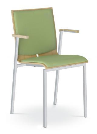 Jednací a konferenční židle TWIST 252-N2, konstrukce efekt hliník,  područky
