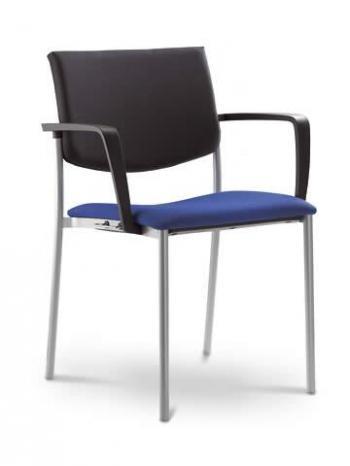 Jednací a konferenční židle SEANCE 090-K-B-N4, chromovaná konstrukce, područky LD SEATING 090-K-B-N4