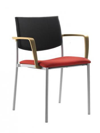 Jednací a konferenční židle SEANCE 090-K-BRD-N1, černá konstrukce, područky LD SEATING 090-K-BRD-N1