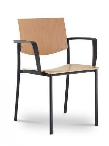 Jednací a konferenční židle SEANCE 092-K-B-N1, černá konstrukce, područky LD SEATING 092-K-B-N1