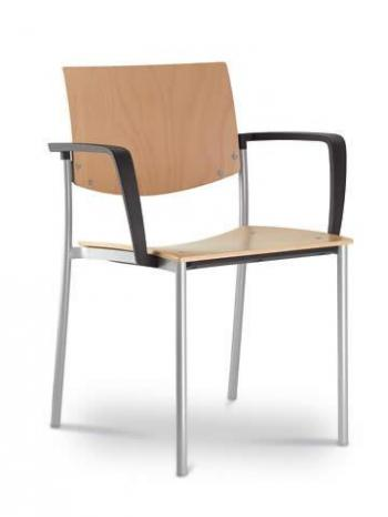 Jednací a konferenční židle SEANCE 092-K-B-N2, konstrukce efekt hliník, područky LD SEATING 092-K-B-N2