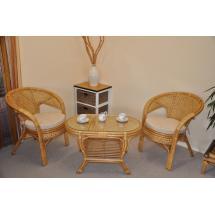 Ratanová sedací souprava Kina malá medová stolek ovál, polstry Ebony