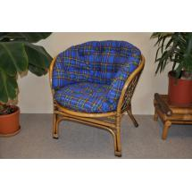 Ratanové křeslo Bahama brown wash polstr MAXI modrý