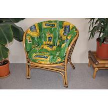 Ratanové křeslo Bahama brown wash polstr MAXI zelený