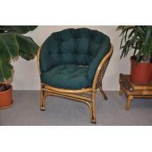 Ratanové křeslo Bahama brown wash polstr MAXI zelený dralon