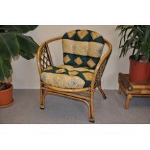 Ratanové křeslo Bahama brown wash polstr zelený motiv
