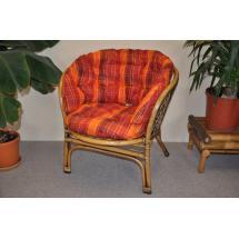 Ratanové křeslo Bahama brown wash polstr MAXI oranžová kostka