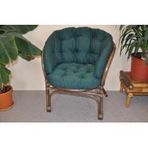 Ratanové křeslo Bahama hnědé polstr zelený dralon MAXI