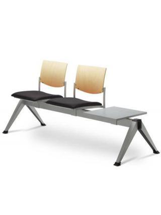 Multisedák dvoumístný SEANCE 099/V-2T-N2, podnož barva efekt hliník, stolek