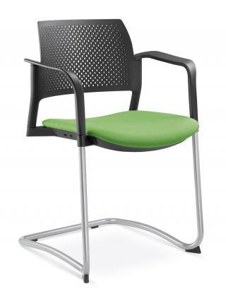 Jednací a konferenční židle DREAM+ 101-BL/B-N2, konstruk efekt hliník, područky
