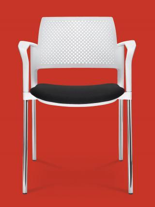 Jednací a konferenční židle DREAM+ 100-WH/B-N2, konstrukce efekt hliník, područky