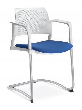 Jednací a konferenční židle DREAM+ 101-WH/B-N2, konstrukce efekt hliník, područky